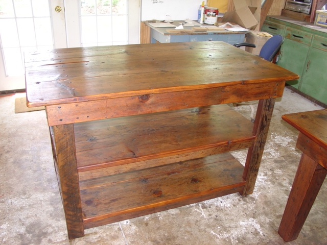 Primitivefolks rustic pine farm tables country harvest tables kitchen islands more made - Custom kitchen table ...