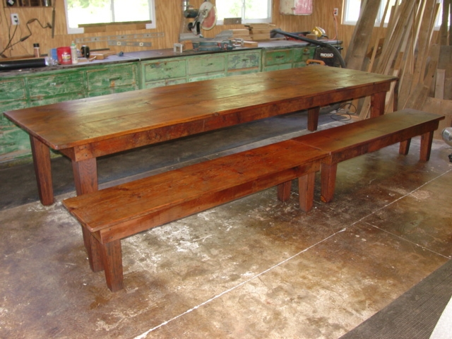 10ft X 36 Eastern White Pine Harvest Table With Bench.