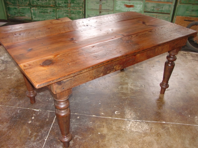 Custom Eastern White Pine Farm Table And Savage Style Hand Turned Legs