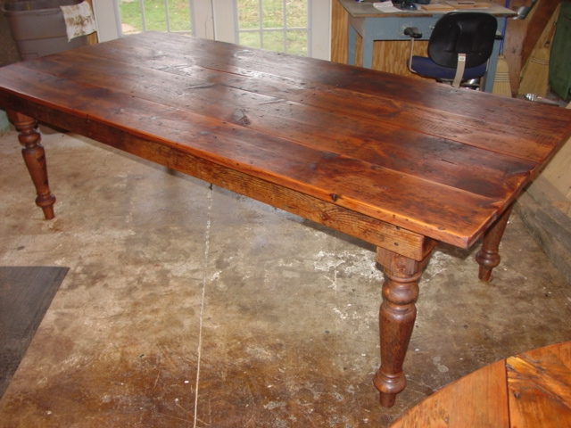 A Wonderful Rustic Farmhouse Table 8ft X 44 30 With Hand Turned Legs